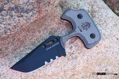TOPS GRPR01 Grim Ripper, Micarta Handle. This extra heavy duty push dagger has the ability to dramatically penetrate and cut if the need be there. http://www.osograndeknives.com/catalog/fixed-blade-push-knives/tops-grpr01-grim-ripper-micarta-handle-6767.html