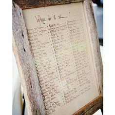 Seating chart, barnwood frame