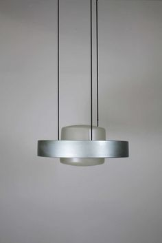 Anonymous; Aluminum, Chromed Metal and Glass Ceiling Light, c1960.