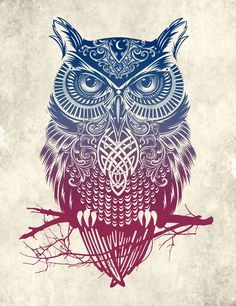 Evening Warrior Owl Framed Art Print by Rachel Caldwell   This is so rad. If I got a tattoo I would do this.