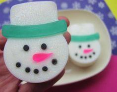 Snowman Soap Green Snowboy Christmas Soap by SunbasilgardenSoap