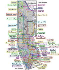 New York City ~ Manhattan neighborhoods map