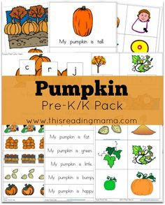Pumpkin Pre-K/K Pack {FREE}  ~ Contains an emergent reader and early literacy and math activities | This Reading Mama