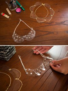 This DIY pair of clear collar necklaces will add an extra special something to collarless tops.