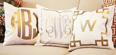 Gold Monogrammed Pillows - we love GOLD accents in the nursery!