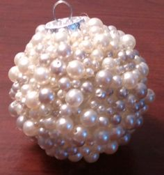 hot glue and pearls on clear ornament