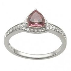 Silver Diamond and Pink Tourmaline Ring