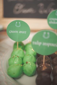 mint chocolate cake pops - photo by Nine Photography, concept by Grit + Gold - http://ruffledblog.com/st-patricks-day-wedding-inspiration/