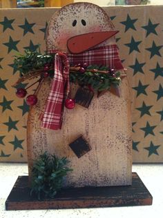 Primitive distressed Wooden snowman  by LLBCrafts on Etsy, $18.00