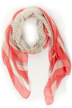 Au Revoir Grey and Coral Pink Striped Scarf  $12
