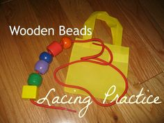 Wooden Lacing Beads - stack them, lace them or just take them in and out of bag.  Whatever keeps them entertained!
