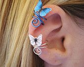 Butterfly Ear Cuff Wire Wrap CUSTOM COLOR. $15.95, via Etsy.