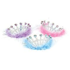 Every #ballerina needs a marabou tiara! Pink, Purple & Blue Marabou Tiaras feature a silver plastic tiara with gem stones and marabou accents.
