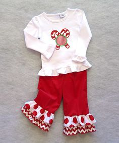Take a look at this Red Candy Cane Top and Dot Ruffle Pants - Toddler by Katie Bug Casuals on #zulily today! sew, toddler girls, candies, christmas outfits, candy canes, red candi, dots, ruffles, cane top