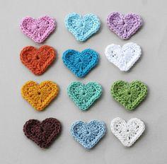 Crochet heart appliques