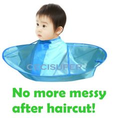 Kids Children Haircut Haircutting Hair Cut Catcher Apron Cape Hairdresser Barber Daiso ---- It's practical of course but I still find it humorus.