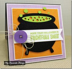 Cheesecloth Background, Spooky Sentiments, Fishtail Flags Layers STAX Die-namics, Witch's Cauldron Die-namics, Jumbo Polka Dot stencil - Jodi Collins #mftstamps