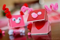 Paint Chip Monster Puppet for Valentine's Day
