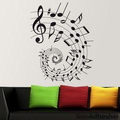 Un auténtico pentagrama para representar nuestra pasión por la música. Una espiral de notas musicales que dará movimiento a la pared. La mejor manera de personalizar una pared con una bonita melodía.