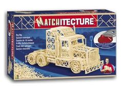 """The Matchitecture Trailer Truck matchstick kit includes everything needed to make this matchstick model kit.  Included are all the pre-cut card formers along with the glue, matchticks and full instructions.  These instructions will guide you through each stage of the construction until you finally achieve the finished product. We would highly recommend this Matchitecture Trailer Truck matchstick model Kit.  2000 Microbeams. Size: 450mm(17.5"""")long x 240mm(9.5"""")high."""