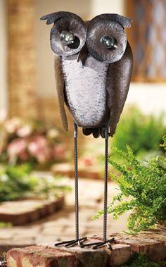 Hand-painted Garden Owl Statue