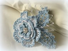 Crocheted romantic rose brooch or hairclip