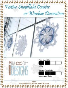 Ravelry: Festive Snowflake Coaster or Window Decoration Crochet PDF Pattern by Ira Rott