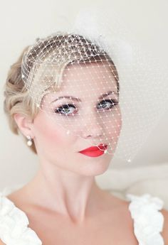 Instead of classic veils, bird Cage Veil..yes, love it.