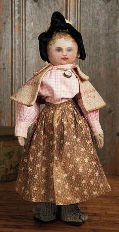 View Catalog Item - Theriault's Antique Doll Auctions Lot: 196. Fine Early American Oil-Painted Folk Doll in Original Costume