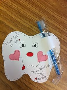 "Rather than giving your students chocolate for Valentine's Day, I like this idea to give them a ""Sweet Tooth (Tooth brush) Valentine!""  I'm sure the parents of your students will think that this is a ""sweet"" idea!"