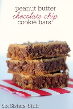 Peanut Butter Chocolate Chip Cookie Bars from SixSistersStuff.com.  These cookie bars are TO DIE FOR! #sixsistersstuff #dessert