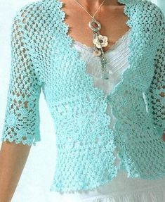 fashion outfits, colors, blous, jackets, crochet sweaters, aqua, crochet tops, crochet patterns, blues