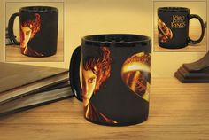 Add any hot beverage and the One Ring itself appears, along with the Lord of the Rings logo! Holds about 11 ounces. Not microwave or dishwasher safe.