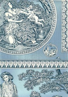 Toile Cornelia Wallpaper Framed toile in blue and off white