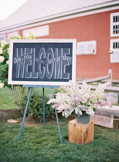chalkboard welcome sign.