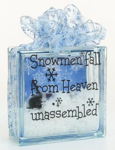 Snowmen Fall from Heaven Block by Chris Yankauskas, Nicole™ Crafts #glassblock #craft #christmas