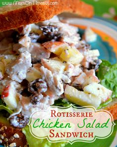 Rotisserie Chicken Salad Sandwich | MomOnTimeout.com  - Rotisserie Chicken Salad Sandwich recipe that utilizes the delicious and convenient flavors of a Rotisserie Chicken! #sandwich #recipe. I would substitute cranberries for the raisins. CL