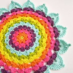Beautiful colorful #crochet doily work from @colorncream doili crochet, color crochet, rainbow doili, crochet doilies
