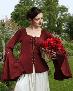 Detachable Sleeves Linen Blouse -Historical Clothing Realm