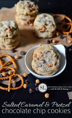 Salted Caramel & Pretzel Chocolate Chip Cookies Recipe #McCormickBakeSale | bystephanielynn.com