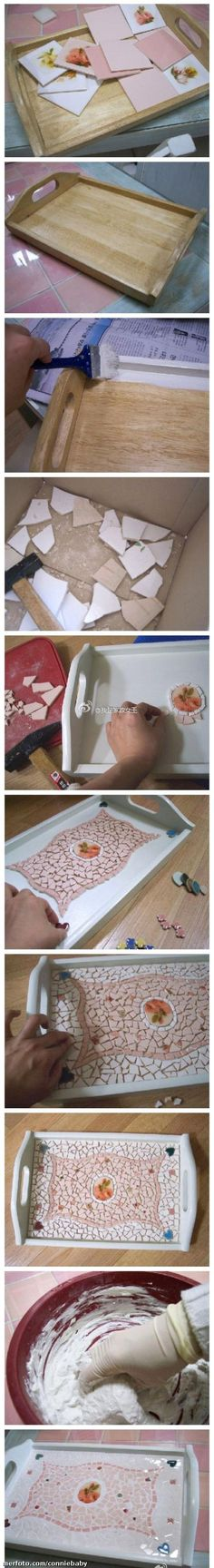 diy ideas, diy crafts, diy tutorial, serving trays, mosaic tables, broken china, mosaic tiles, craft ideas, christmas gifts