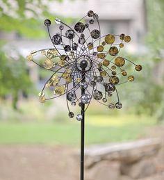 garden art, gift gold, gardenyard art, dots, garden gifts, silver dot, metal wind, wind spinner, dot metal
