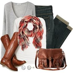 fall fashions, messenger bags, knit sweaters, fall outfits, riding boots, brown boots, casual outfits, plaid scarf outfit, fall dresses