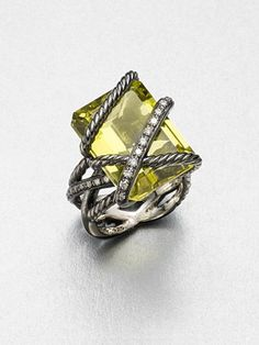 David Yurman - Diamond Accented Lemon Citrine Ring - Saks.com
