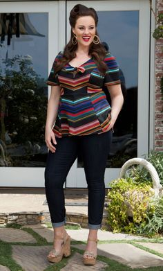 Passport Peplum Top - Navy Multi-Stripe  #bbw #curvy #fullfigured #plussize #thick #beautiful #fashionista #style #fashion #shop #online www.curvaliciousclothes.com TAKE 15% OFF Use code: TAKE15 at checkout