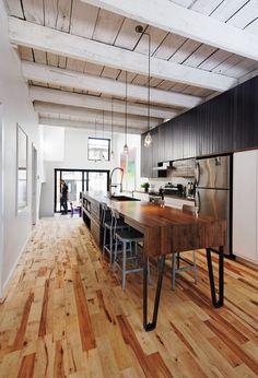 interior, rustic industrial, floor, industrial kitchens, modern rustic, rustic kitchens, wood ceilings, modern kitchens, kitchen islands