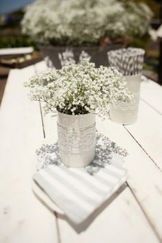 babies breath, galleri, weddings, inexpensive centerpiece, small flower centerpieces baby, tin cans, floral designs, tin can centerpieces, babi breath