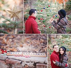 Love this idea for Christmas cards - decorating a random tree in the forest with a few baubles.