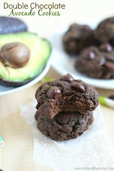 Chocolate Cookies with AVOCADO?! Yup. Amazing, moist, chocolatey, rich Double Chocolate Avocado Cookies! Prepare to fall in love.