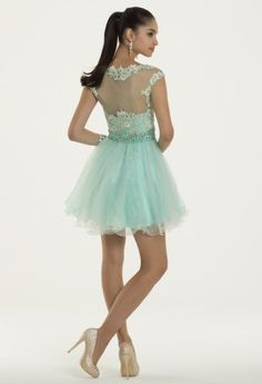 Short Beaded Lace Prom Dress with Tulle Skirt from Camille La Vie and Group USA
